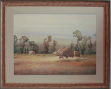 """Haystacks & Horses"" watercolor by Jean Halverson"