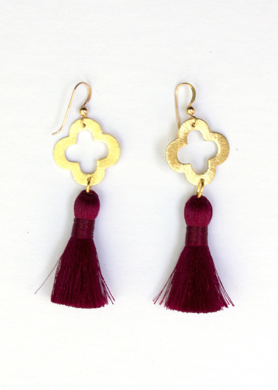 Blakely Tassel Earrings- Garnet