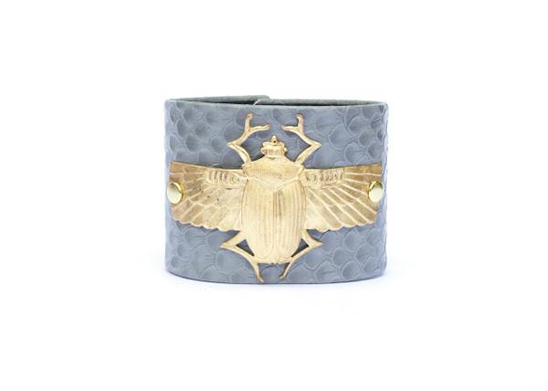 Winged Scarab Cuff- Grey