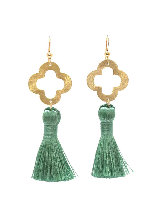 Blakely Tassel Earrings- Sage Green