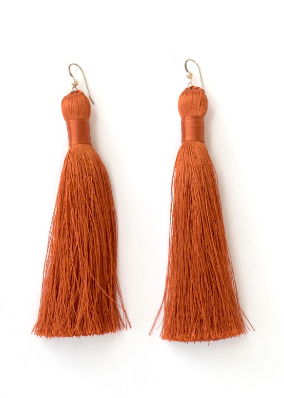 Annie Tassel Earrings - Rust