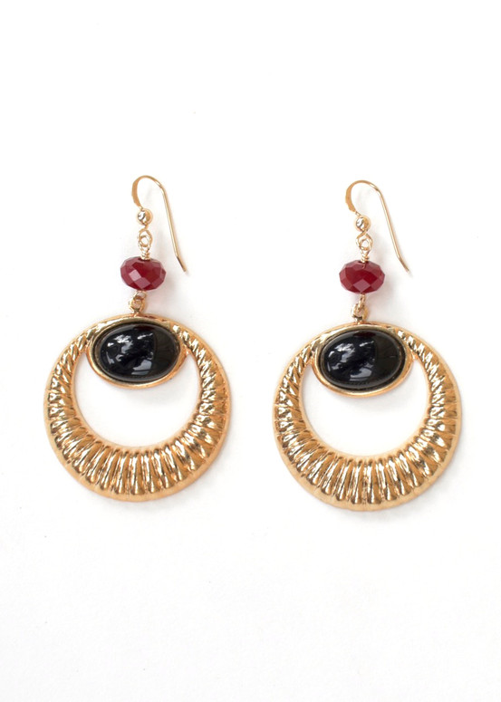 Greta Earrings- Onyx + Red