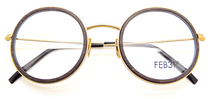Feb 31st TONIO 9294 Fabulous Dark Wood & Gold Metal Combination Model Round Glasses Hand Made in Italy
