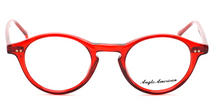 Anglo American 406 OP9 Vibrant Translucent Red Panto Shaped Glasses At www.eyehuggers.co.uk