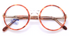 Acrylic vintage round eyeglasses with turtle rims
