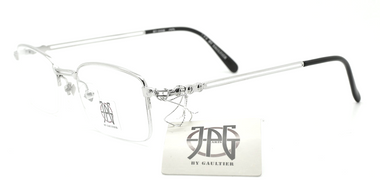 Half Rim Silver Rectangular Glasses By Jean Paul Gaultier