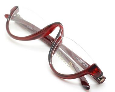 Vintage Christian Dior 3020 Designer Half Moon Red Eyewear At Eyehuggers