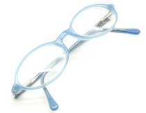 Moschino M3562 Oval Spectacles In Light Blue Acrylic