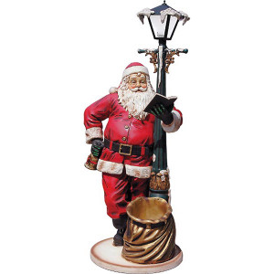 Large Santa With Lamp Post 6Ft Fiberglass Statue Novelty Collectable Decor