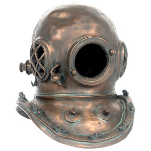 "16.5""H Diving Helmet Copper Statue Novelty Collectable Decor"