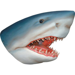 "32.25""H Great White Shark Wall Bust Fiberglass Novelty Collectable Décor"