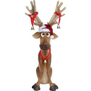 Funny Reindeer Sitting Large Christmas Decoration