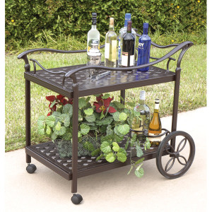 Savannah Serving Tea Cart on Wheels Outdoor Patio Accessory