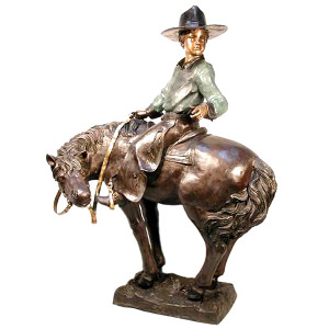 Cowboy Kid on Pony - Bronze