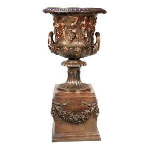 Roman Urn on Stand - Bronze Grecian Urn