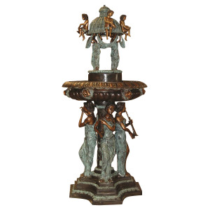 Musician Lady Standng with Dome Fountain - Bronze