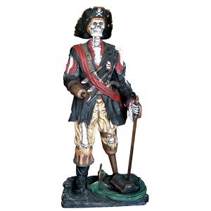 "76.25""H Halloween Skeleton Pirate Fiberglass Statue Novelty Collectable Decor"