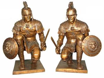 Pair Roman Soldier w/ Sword - Bronze Statues - Bronze