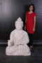 Enlightened Seated Buddha 4 ft in Aged Stone Finish