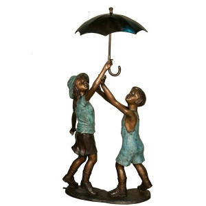 Boy & Girl with Umbrella Bronze Fountain