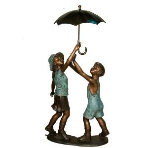 Boy & Girl with Umbrella Bronze Fountain