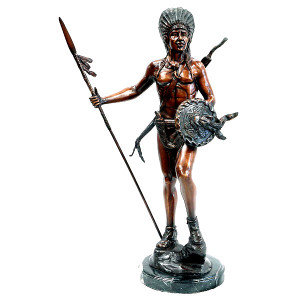 Indian with Spear on Marble Base