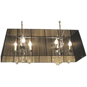 "Rectangle Crystal Chandelier Modern Ceiling Light Fixture L39"" Black Sheer Shade"