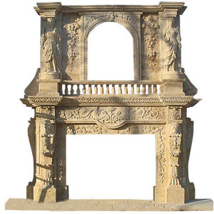 Monumental Travertine Mantle (65x48int)