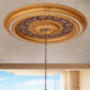 Brocade Round Chandelier Ceiling Medallion 47 Inch