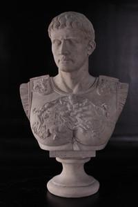 """Augustus Caesar Faux Stone Bust 32.25"""" Tall"""