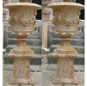 Pair Travertine Urns with Stands