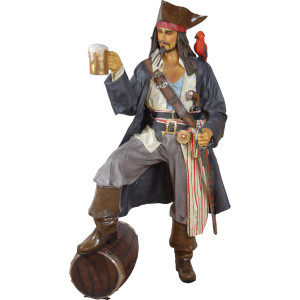 "73.25""H Caribbean Pirate Life Size Statue With Rum And Parrot Novelty Collectable"