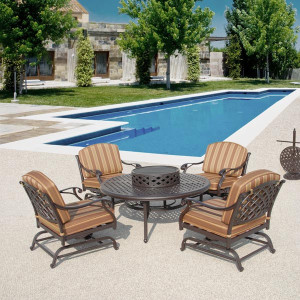 Brentwood 6pc Firepit w Rocking Club Chairs Set Outdoor Patio Furniture