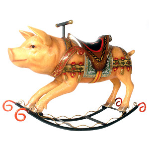 "34.5""H Rocking Pig Statue Fiberglass Novelty Collectable Decor"