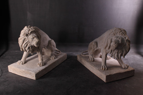 The Pair of 39 inch Symmetrical Entry Lions in Rough Stone