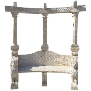 Lion Trellis Bench - Bge Marble