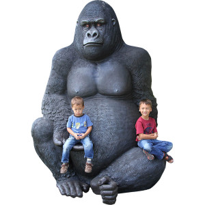 "98.25""H Jumbo Silver Back Gorilla Black Fiberglass Novelty Collectable Decor"