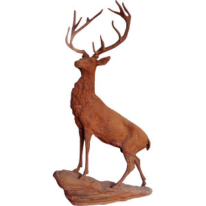 "55""H Antiqued Iron Stag On Rock Statue Rust Cast Iron Garden Sculpture"