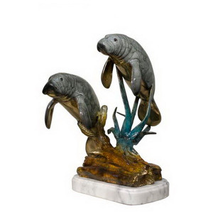 Two Manatees on Marble Base