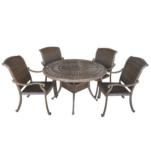 Palladio Woven 5pc Round Dining Set Outdoor Patio Furniture