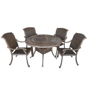Palladio Woven 5pc Round Dining Set Outdoor Patio Furniture