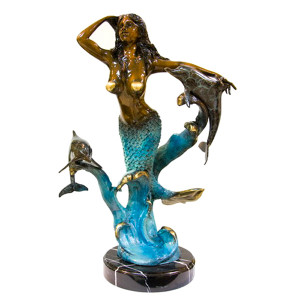 Mermaid & Dolphin on Marble Base  Special Patina