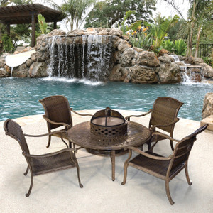 Palladio Woven 6pc Firepit w Club Chairs Set Outdoor Patio Furniture
