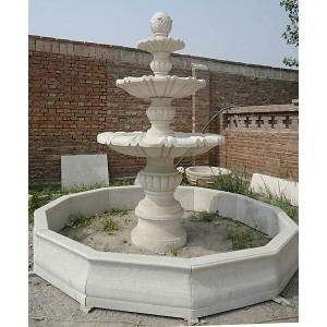 Three Tier Fountian - Wht Marble