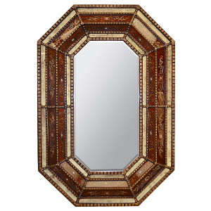 Peruvian Painted Glass Octagonal Mirror