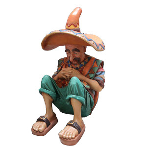 "48.5""H Sleeping Mexican Statue Novelty Collectable Decor"