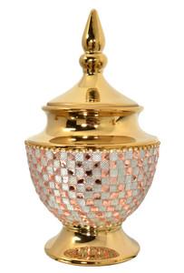 Rose Crystal And  Gold Lidded Jar