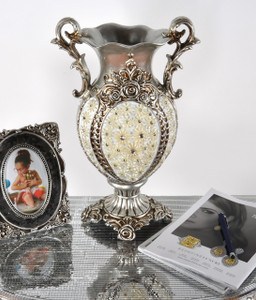 Silver Flower Jeweled Vase
