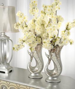 Silver Pearl Swan Set of 2