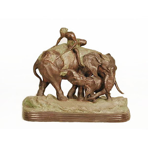 Man on Elephant - Marble Base